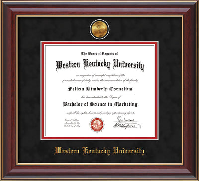 Image of Western Kentucky University Diploma Frame - Cherry Lacquer - w/24k Gold Plated Medallion WKU Name Embossing - Black Suede on Red Mat