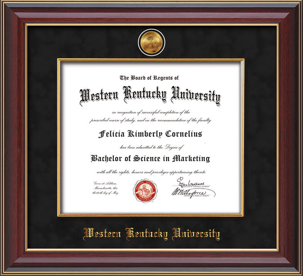 Image of Western Kentucky University Diploma Frame - Cherry Lacquer - w/24k Gold-Plated Medallion & Fillet - w/WKU Name Embossing - Black Suede mat
