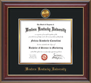 Image of Western Kentucky University Diploma Frame - Cherry Lacquer - w/24k Gold Plated Medallion WKU Name Embossing - Black on Gold Mat
