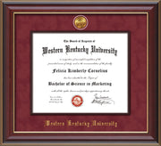 Image of Western Kentucky University Diploma Frame - Cherry Lacquer - w/24k Gold-Plated Medallion & Wood Stained Fillet - w/WKU Embossing - Garnet Suede