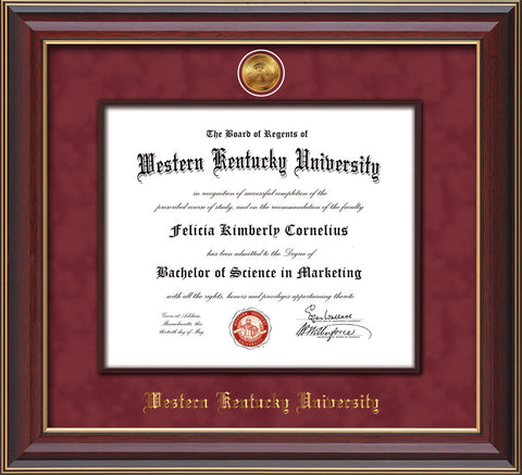 Image of Western Kentucky University Diploma Frame - Cherry Lacquer - w/24k Gold-Plated Medallion & Wood Stained Fillet - w/WKU Name Embossing - Maroon Suede mat