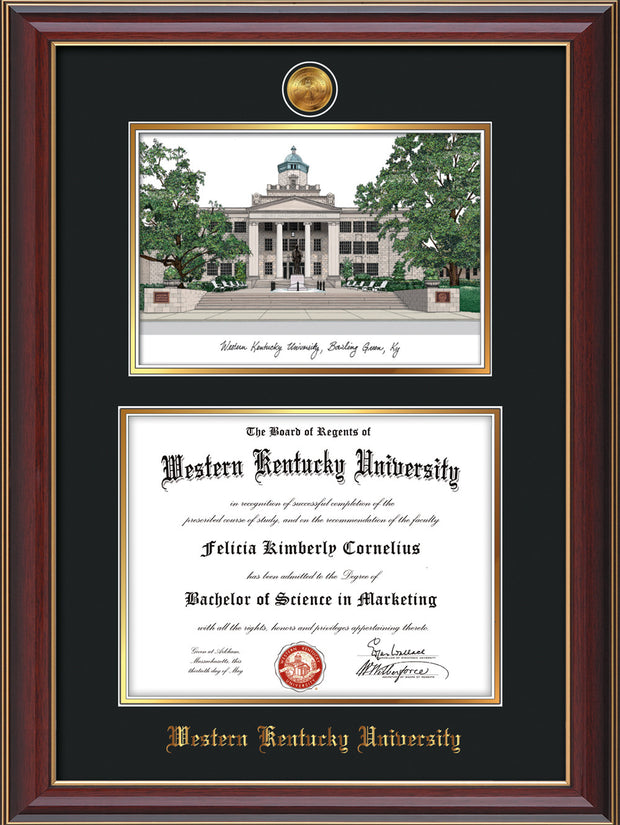 Image of Western Kentucky University Diploma Frame - Cherry Lacquer - w/24k Gold Plated Medallion WKU Name Embossing - w/Campus Watercolor - Black on Gold Mat
