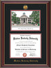 Image of Western Kentucky University Diploma Frame - Cherry Lacquer - w/24k Gold Plated Medallion WKU Name Embossing - w/Campus Watercolor - Black on Red Mat