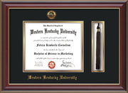 Image of Western Kentucky University Diploma Frame - Cherry Lacquer - w/Embossed WKU Seal & Name - Tassel Holder - Black on Gold mat