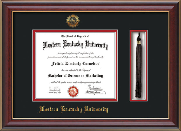 Image of Western Kentucky University Diploma Frame - Cherry Lacquer - w/Embossed WKU Seal & Name - Tassel Holder - Black on Red mat