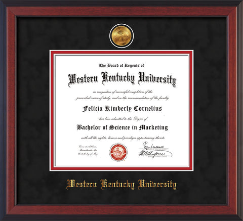 Image of Western Kentucky University Diploma Frame - Cherry Reverse - w/24k Gold Plated Medallion WKU Name Embossing - Black Suede on Red Mat