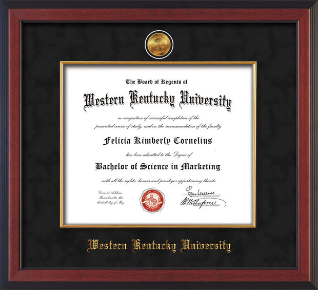 Image of Western Kentucky University Diploma Frame - Cherry Reverse - w/24k Gold-Plated Medallion & Fillet - w/WKU Name Embossing - Black Suede mat
