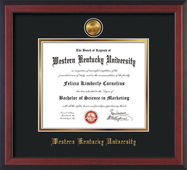Image of Western Kentucky University Diploma Frame - Cherry Reverse - w/24k Gold Plated Medallion WKU Name Embossing - Black on Gold Mat