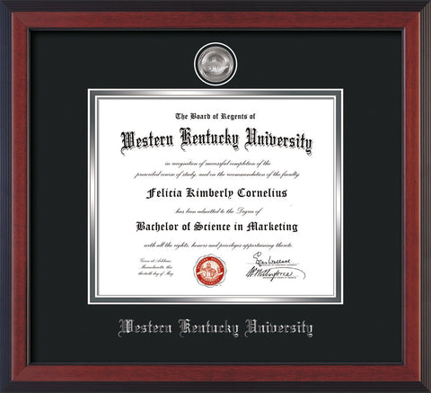 Image of Western Kentucky University Diploma Frame - Cherry Reverse - w/Silver Plated Medallion WKU Name Embossing - Black on Silver Mat