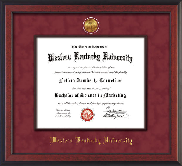 Image of Western Kentucky University Diploma Frame - Cherry Reverse - w/24k Gold-Plated Medallion & Wood Stained Fillet - w/WKU Embossing - Garnet Suede