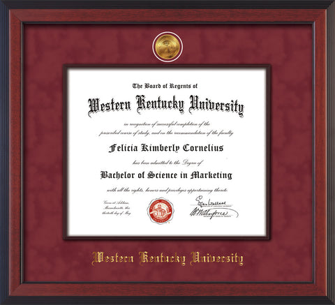 Image of Western Kentucky University Diploma Frame - Cherry Reverse - w/24k Gold-Plated Medallion & Wood Stained Fillet - w/WKU Name Embossing - Maroon Suede mat