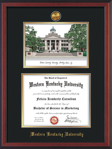 Image of Western Kentucky University Diploma Frame - Cherry Reverse - w/24k Gold Plated Medallion WKU Name Embossing - w/Campus Watercolor - Black on Gold Mat