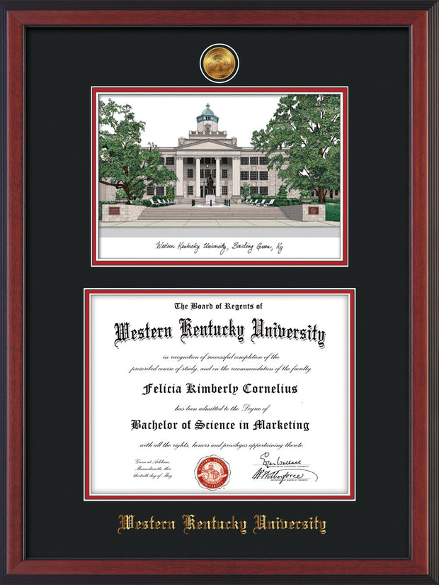 Image of Western Kentucky University Diploma Frame - Cherry Reverse - w/24k Gold Plated Medallion WKU Name Embossing - w/Campus Watercolor - Black on Red Mat