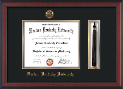Image of Western Kentucky University Diploma Frame - Cherry Reverse - w/Embossed WKU Seal & Name - Tassel Holder - Black on Gold mat