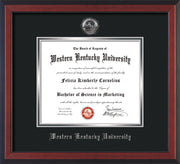 Image of Western Kentucky University Diploma Frame - Cherry Reverse - w/Silver Embossed WKU Seal & Name - Black on Silver mat