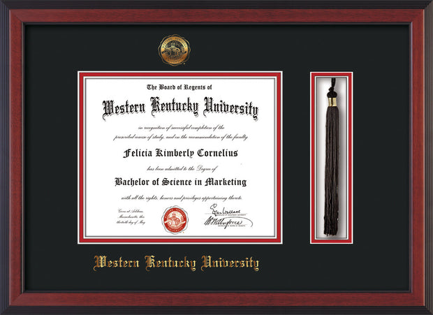 Image of Western Kentucky University Diploma Frame - Cherry Reverse - w/Embossed WKU Seal & Name - Tassel Holder - Black on Red mat