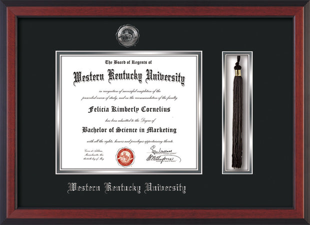 Image of Western Kentucky University Diploma Frame - Cherry Reverse - w/Silver Embossed WKU Seal & Name - Tassel Holder - Black on Silver mat