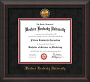 Image of Western Kentucky University Diploma Frame - Mahogany Braid - w/24k Gold Plated Medallion WKU Name Embossing - Black Suede on Red Mat