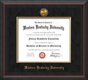 Image of Western Kentucky University Diploma Frame - Mahogany Braid - w/24k Gold-Plated Medallion & Fillet - w/WKU Name Embossing - Black Suede mat