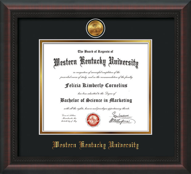 Image of Western Kentucky University Diploma Frame - Mahogany Braid - w/24k Gold Plated Medallion WKU Name Embossing - Black on Gold Mat