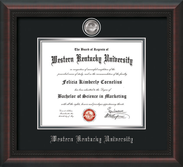 Image of Western Kentucky University Diploma Frame - Mahogany Braid - w/Silver Plated Medallion WKU Name Embossing - Black on Silver Mat