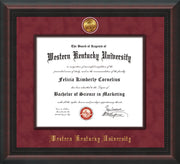 Image of Western Kentucky University Diploma Frame - Mahogany Braid - w/24k Gold-Plated Medallion & Wood Stained Fillet - w/WKU Embossing - Garnet Suede