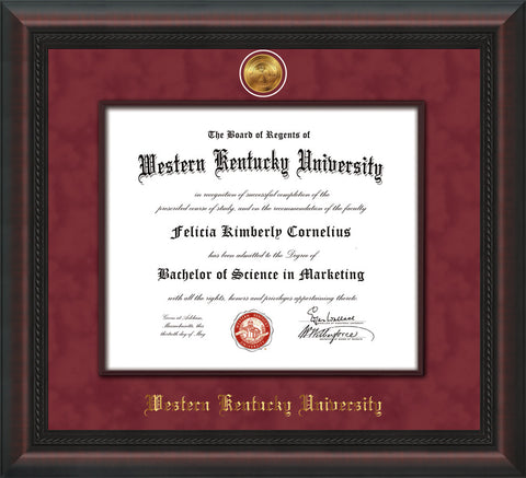 Image of Western Kentucky University Diploma Frame - Mahogany Braid - w/24k Gold-Plated Medallion & Wood Stained Fillet - w/WKU Name Embossing - Maroon Suede mat