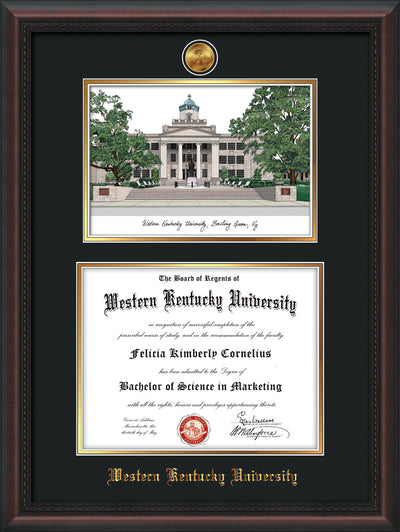 Image of Western Kentucky University Diploma Frame - Mahogany Braid - w/24k Gold Plated Medallion WKU Name Embossing - w/Campus Watercolor - Black on Gold Mat