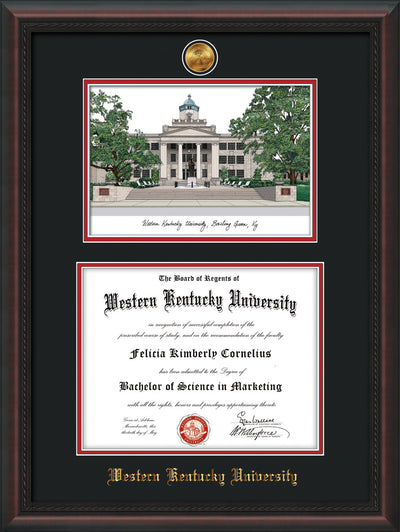 Image of Western Kentucky University Diploma Frame - Mahogany Braid - w/24k Gold Plated Medallion WKU Name Embossing - w/Campus Watercolor - Black on Red Mat