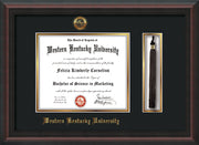 Image of Western Kentucky University Diploma Frame - Mahogany Braid - w/Embossed WKU Seal & Name - Tassel Holder - Black on Gold mat
