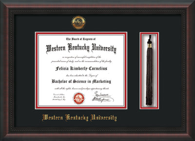 Image of Western Kentucky University Diploma Frame - Mahogany Braid - w/Embossed WKU Seal & Name - Tassel Holder - Black on Red mat