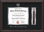 Image of Western Kentucky University Diploma Frame - Mahogany Braid - w/Silver Embossed WKU Seal & Name - Tassel Holder - Black on Silver mat