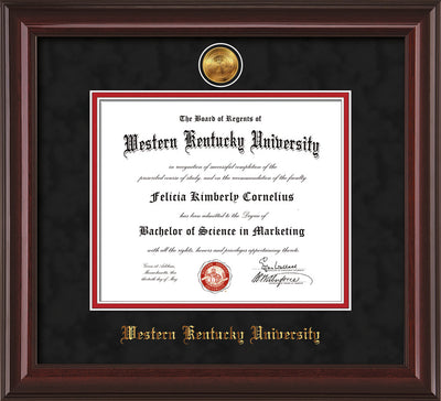 Image of Western Kentucky University Diploma Frame - Mahogany Lacquer - w/24k Gold Plated Medallion WKU Name Embossing - Black Suede on Red Mat