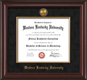 Image of Western Kentucky University Diploma Frame - Mahogany Lacquer - w/24k Gold-Plated Medallion & Fillet - w/WKU Name Embossing - Black Suede mat