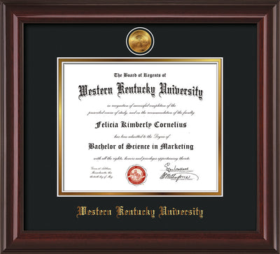 Image of Western Kentucky University Diploma Frame - Mahogany Lacquer - w/24k Gold Plated Medallion WKU Name Embossing - Black on Gold Mat