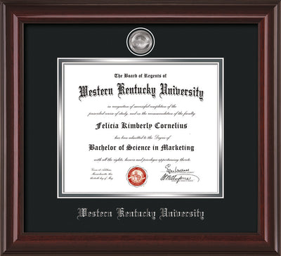 Image of Western Kentucky University Diploma Frame - Mahogany Lacquer - w/Silver Plated Medallion WKU Name Embossing - Black on Silver Mat