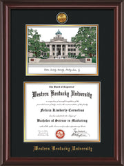Image of Western Kentucky University Diploma Frame - Mahogany Lacquer - w/24k Gold Plated Medallion WKU Name Embossing - w/Campus Watercolor - Black on Gold Mat
