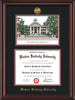 Image of Western Kentucky University Diploma Frame - Mahogany Lacquer - w/24k Gold Plated Medallion WKU Name Embossing - w/Campus Watercolor - Black on Red Mat