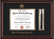 Image of Western Kentucky University Diploma Frame - Mahogany Lacquer - w/Embossed WKU Seal & Name - Tassel Holder - Black on Gold mat