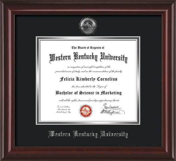 Image of Western Kentucky University Diploma Frame - Mahogany Lacquer - w/Silver Embossed WKU Seal & Name - Black on Silver mat