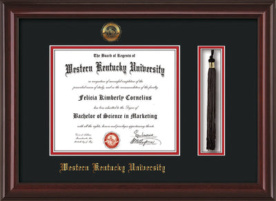 Image of Western Kentucky University Diploma Frame - Mahogany Lacquer - w/Embossed WKU Seal & Name - Tassel Holder - Black on Red mat