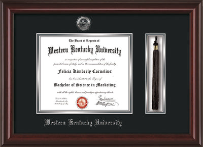 Image of Western Kentucky University Diploma Frame -  Mahogany Lacquer - w/Silver Embossed WKU Seal & Name - Tassel Holder - Black on Silver mat