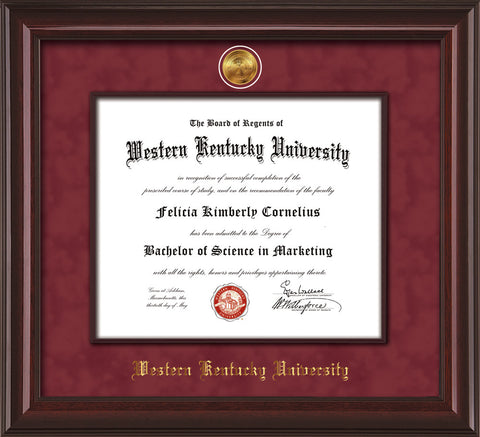 Image of Western Kentucky University Diploma Frame - Mahogany Lacquer - w/24k Gold-Plated Medallion & Wood Stained Fillet - w/WKU Name Embossing - Maroon Suede mat