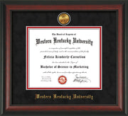 Image of Western Kentucky University Diploma Frame - Rosewood - w/24k Gold Plated Medallion WKU Name Embossing - Black Suede on Red Mat
