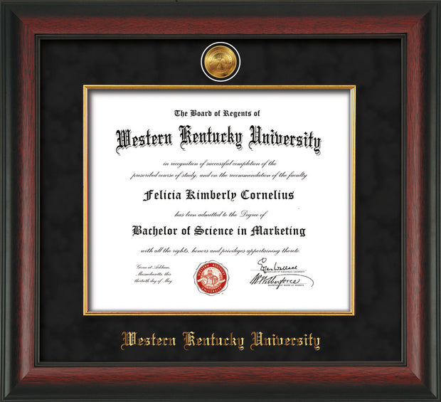 Image of Western Kentucky University Diploma Frame - Rosewood - w/24k Gold-Plated Medallion & Fillet - w/WKU Name Embossing - Black Suede mat