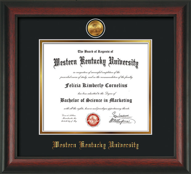 Image of Western Kentucky University Diploma Frame - Rosewood - w/24k Gold Plated Medallion WKU Name Embossing - Black on Gold Mat