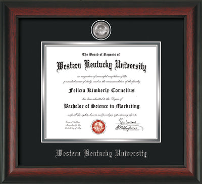 Image of Western Kentucky University Diploma Frame - Rosewood - w/Silver Plated Medallion WKU Name Embossing - Black on Silver Mat