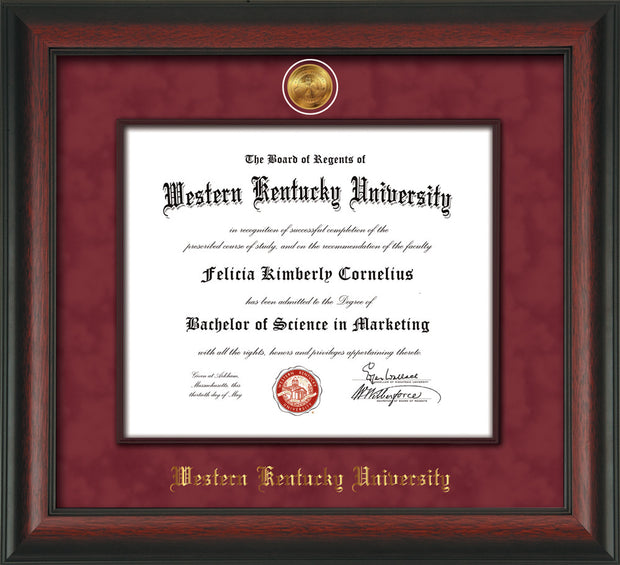 Image of Western Kentucky University Diploma Frame - Rosewood - w/24k Gold-Plated Medallion & Wood Stained Fillet - w/WKU Name Embossing - Garnet Suede mat