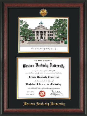 Image of Western Kentucky University Diploma Frame - Rosewood - w/24k Gold Plated Medallion WKU Name Embossing - w/Campus Watercolor - Black on Gold Mat