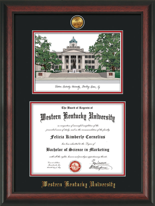 Image of Western Kentucky University Diploma Frame - Rosewood - w/24k Gold Plated Medallion WKU Name Embossing - w/Campus Watercolor - Black on Red Mat